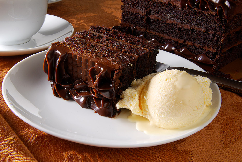 Dark Chocolate Cake with Warm Sauce and Gelato