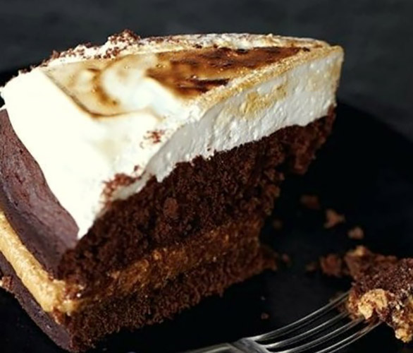 Chocolate Peanut Butter Cake Topped with Marshmallow Cream