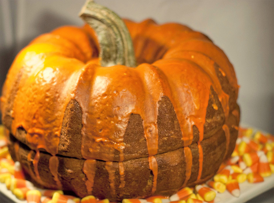Chocolate Pumpkin Cake With Orange Frosting