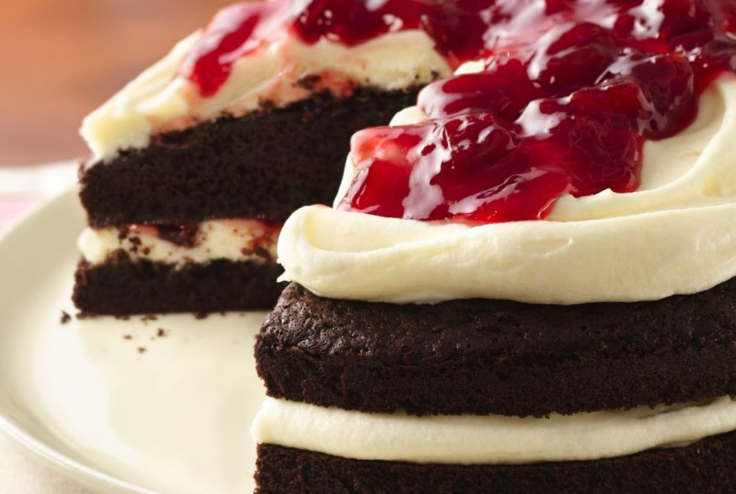 Outstanding Cream Chocolate Cake with Cherries